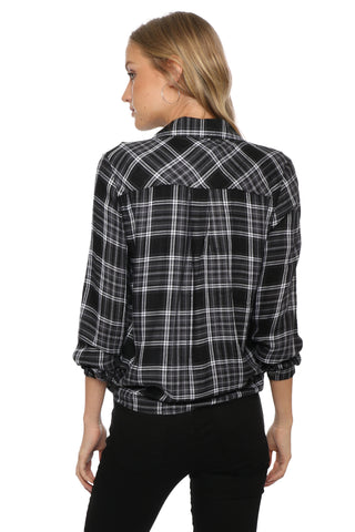 Sunday Stevens Plaid Tie Front Top