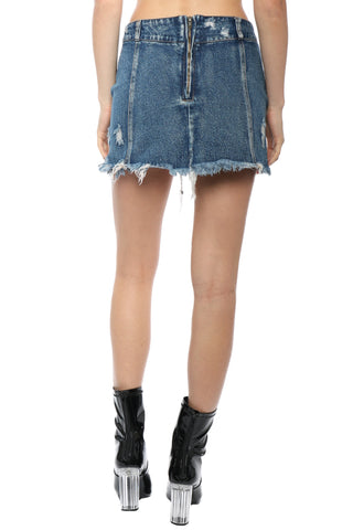 Brooklyn Karma Lace Up Distressed Denim Skirt