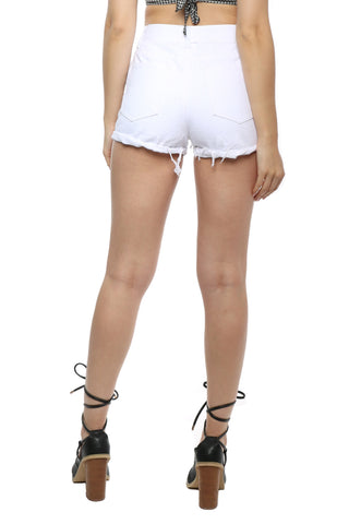 Gab & Kate Rose Embroidered White Cut Off Shorts