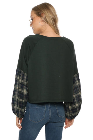 Sunday Stevens Plaid Raglan Top