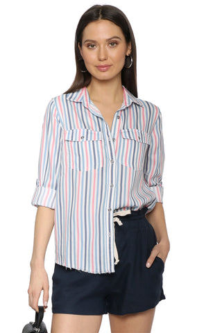 Decker Luxe Raw Hem Button Down - Stripe