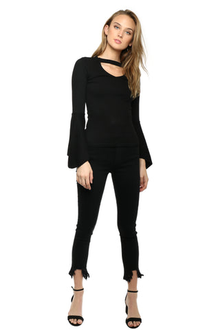 Suzette Flare Long Sleeve Choker Top
