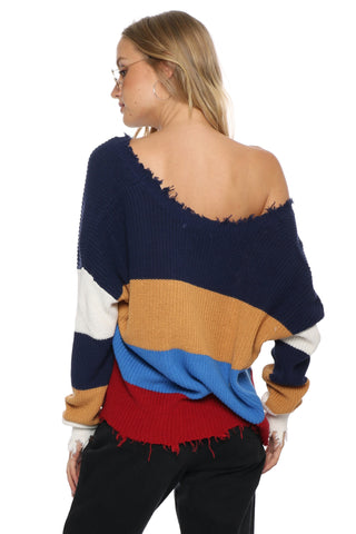 Fox + Hawk Distressed Colorblock Sweater