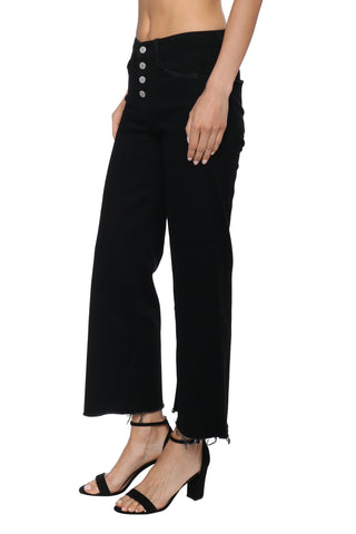 Flying Monkey Button Up Crop Wide Leg Jean