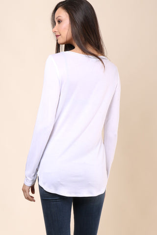 Malibu Beach Basics Pasadena LS Top - White
