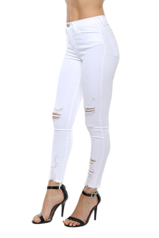 Flying Monkey Distressed High Rise White Skinny Jean