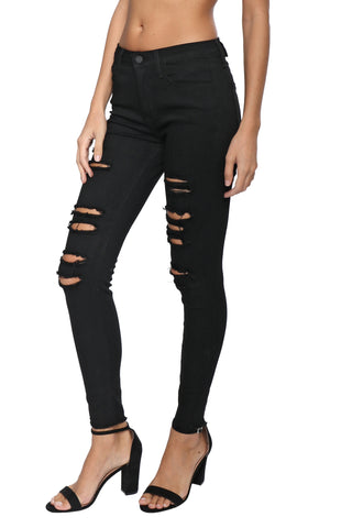 Just Black Black Distressed Skinny With Fray