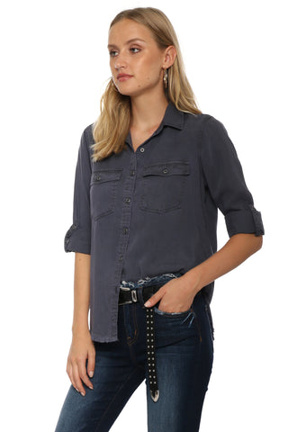 Decker Luxe Raw Hem Button Down