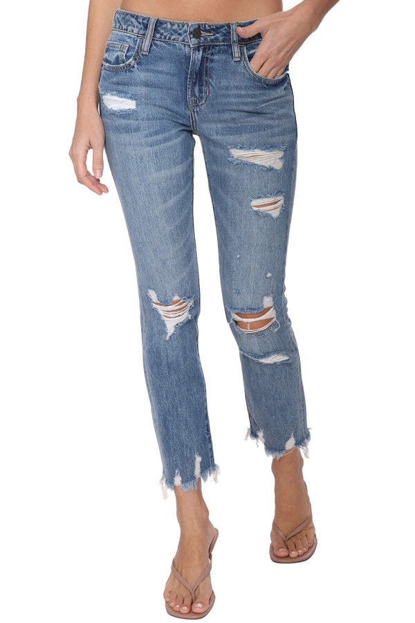 Bailey Medium Wash Distressed BF Jeans