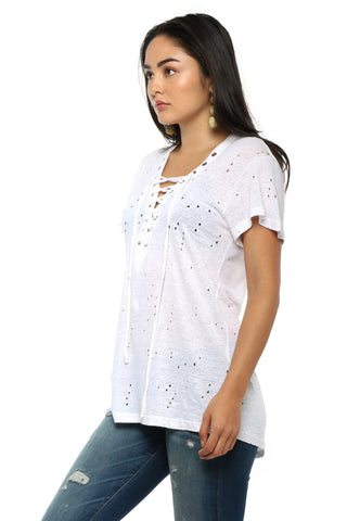 Brooklyn Karma Lace Up Distressed Tee