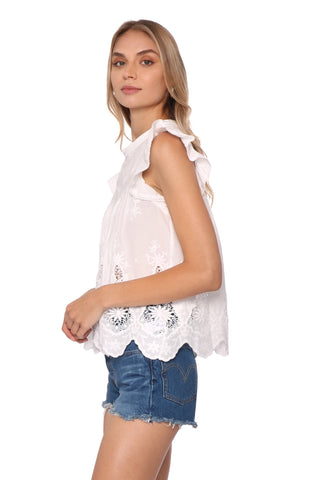 Shabby Chic Lake Scallop Hem Shell Top