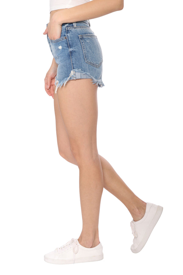 Sofie Dark Wash Mom Shorts
