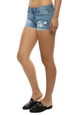 Tractr Blu 5 Pocket Fray Hem Cut Off Shorts - Denim