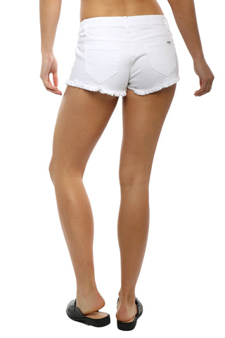 Tractr Blu White Frayed Shorts