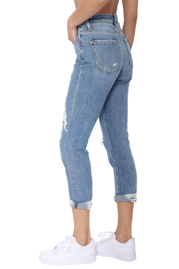 Distressed Roll Cuff Jean