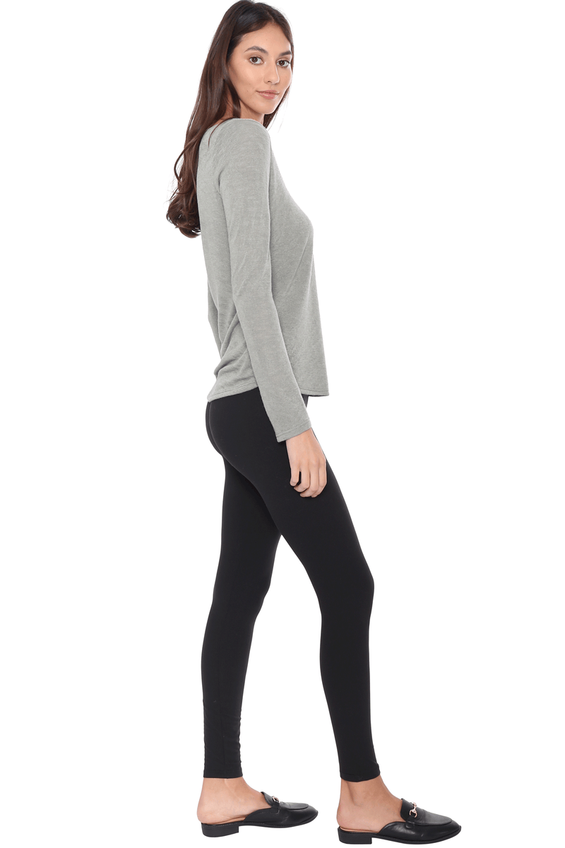 Slub V Notch Long Sleeve Top