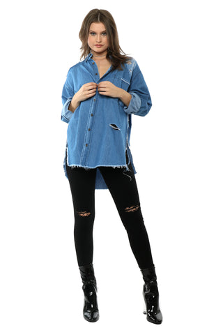 Brooklyn Karma Distressed Denim Shirt