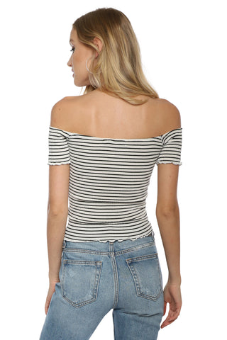 Jac Parker Stripe Smocking Off The Shoulder Top