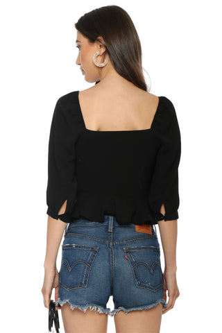 J.O.A Puff Sleeve Wide Neck Top