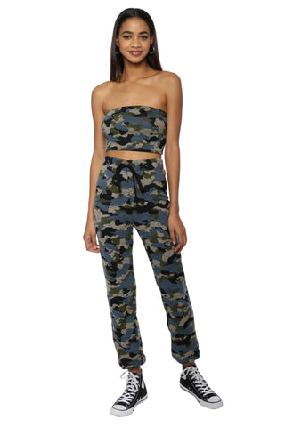 Brooklyn Karma Blue Camo Crop Top