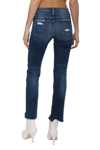Flying Monkey HR Uneven Hem Crop Straight Jeans