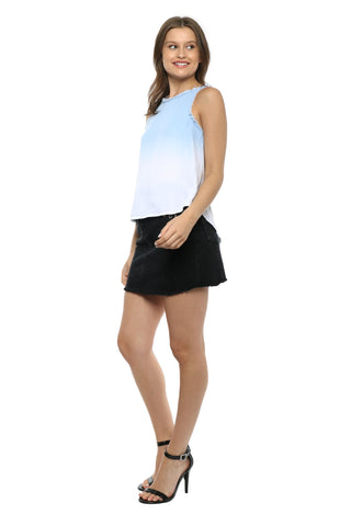 Tractr Blu Denim Ombre Top