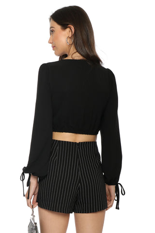 J.O.A Twist Front Bell Sleeve Top