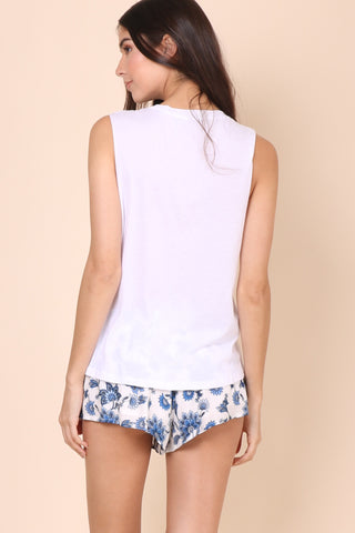 Brooklyn Karma Distressed Muscle Tee - White