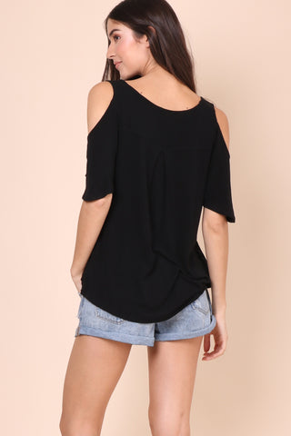 Jac Parker Cold Shoulder Top - Black