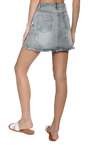 Gab & Kate Distressed Denim Mini Skirt