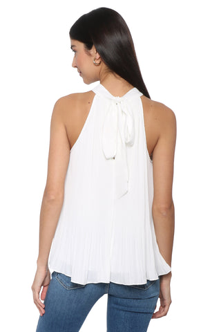 Robertson & Rodeo Acadia White Pleated Halter Top