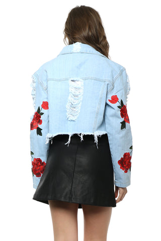 Gab & Kate Wild Rose Cropped Denim Jacket