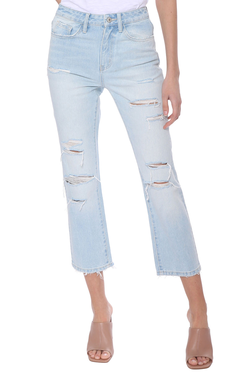 Super High Rise Distressed Straight