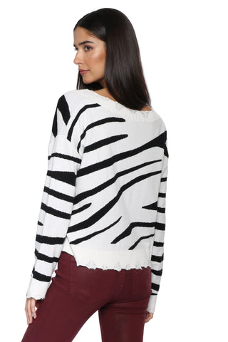 Brooklyn Karma Zebra Distressed Sweater