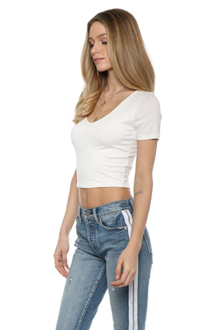 Jac Parker S/S V Neck Crop Top