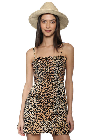 Faithfull Madison Shirred Leopard Dress