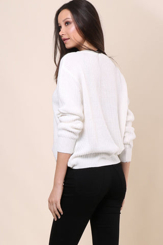 Gab & Kate Lace Up Grommet Sweater