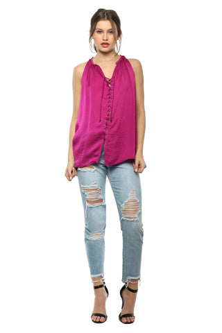 Decker Nolita Lace Up Top