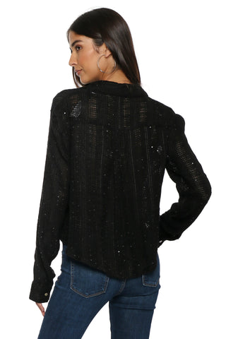 Decker Embellished Button Down Top