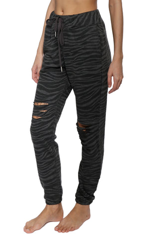 Brooklyn Karma Distressed Zebra Jogger