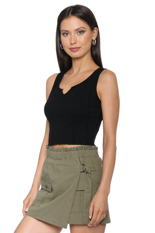 Jac Parker Ribbed V Neck Crop Top