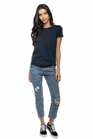 Malibu Beach Basics Raw Edge Crew Neck Tee