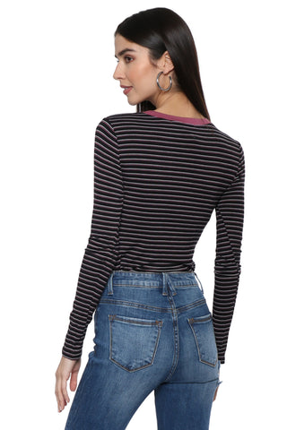 Sunday Stevens L/S Crew Neck Stripe Top