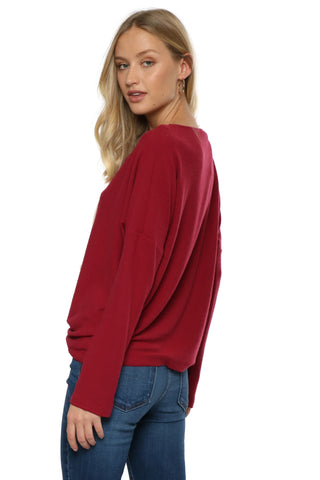 Jac Parker Lace Up Hacci Relaxed Pullover