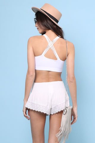 Suzette Stone Wash Web Bralette - White