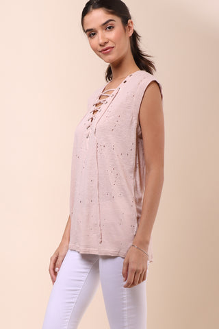 Jac Parker Distressed Lace Up Sleeveless Top