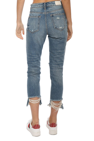 Hidden Exposed Zipper Distressed Jean