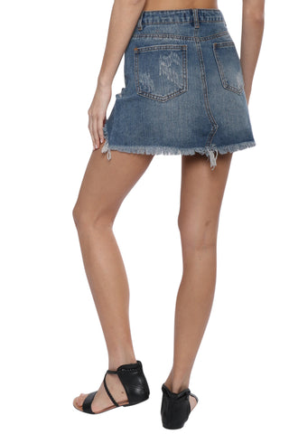 Brooklyn Karma Destroyed Denim Skirt