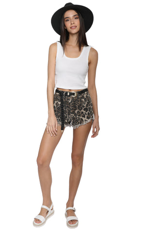Brooklyn Karma Leopard Denim Shorts