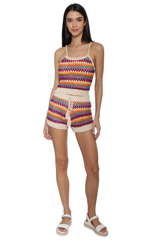 Darah Dahl Striped Crochet Crop Top